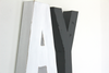 White and gray wall letters for monochromatic nurseries and playroom.