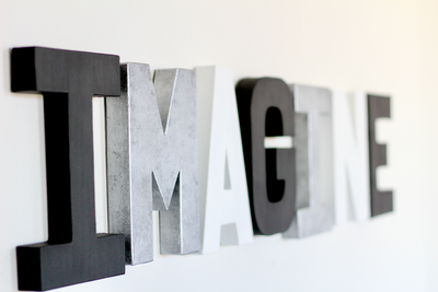 Imagine sign for modern kids room decor.