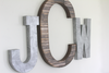"""Wooden"" and ""Metal"" large letter JCW monogram for nurseries and kids room."