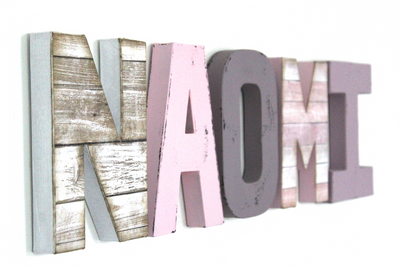 "Reclaimed ""wood"" letters in white, purple, and pink NAOMI girls name letters."