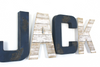 Nautical letters for nursery name signs spelling out a boys name Jack in blues and whites.