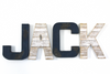 Jack nautical letters for nursery wall decor in two different color tones and textures.