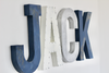 Boy nursery wall decor spelling out the name Jack for nautical nurseries.