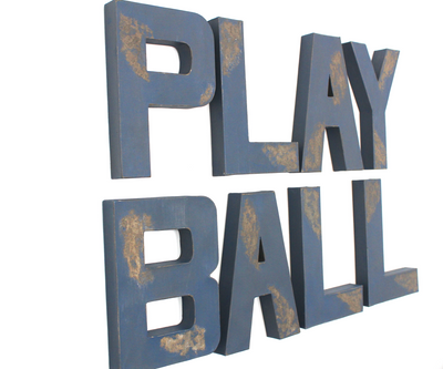 Navy distressed PLAY BALL sign for a baseball themed nursery.