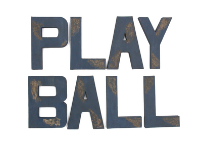 "PLAY BALL ""wooden"" letters for boys sports theme room."