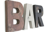 "Distressed ""wooden"" wall letters for coffee bar wall decor spelling out the word BAR."