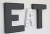 EAT wall sign letters for a modern rustic farmhouse kitchen wall decor.