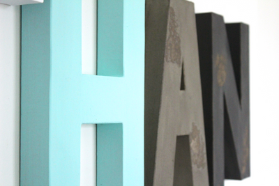 Blue, gray, and black wall letters for boys room decor and name letters.