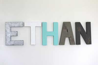 Boy nursery name letters spelling out Ethan in silver, blue, gray, and navy.
