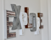 Explore wall sign letters in distressed white letters and industrial silver letters.