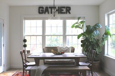 Gather wall letters in a modern farmhouse kitchen.