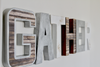 Kitchen gather wall letters in brown, white, and silver letters.