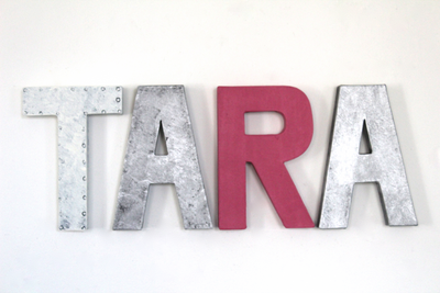 Girl room name letters TARA in white, pink, and silver.