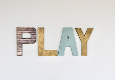 Play sign for kids playroom wall decor.