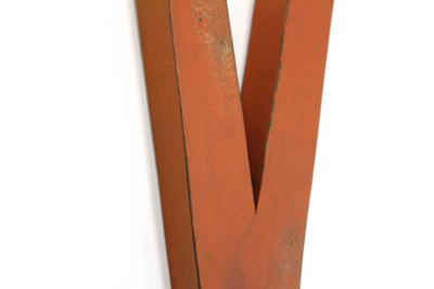 "Farmhouse orange ""wooden"" letter V"