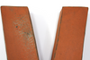 "Close up of distressed ""wooden"" letter V"