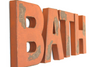 "Kid's bath orange ""wooden"" wall letters."