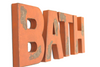 Rustic kid's bathroom wall sign in orange.
