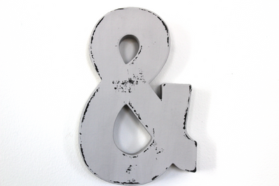 Grey Ampersand for custom wall letter signs.