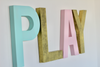Playroom sign in gender neutral colors like aqua, gold, and soft pink.
