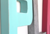 Teal and minty blue letter P for kids playroom.