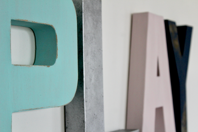 Play letters for gender neutral playroom wall decor.