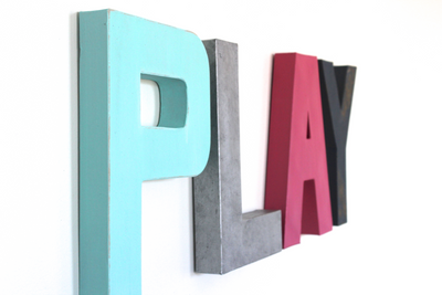 Play wall letters for boy and girl playroom decor.