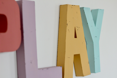 Pastel playroom decorative letters in four different shades of pastel.