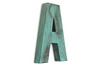 Patina Green Letter A in a distressed finish