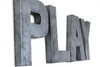 "Gray ""metal"" play sign for playroom wall decor."