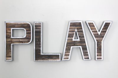 """Metal"" and ""Wooden"" letters for playroom"