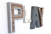"Rustic playroom wall letters in different ""wooden"" and ""metal"" styles."