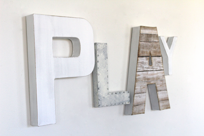 Rustic white play letters for kids playroom wall decor.