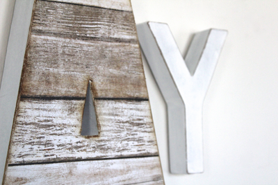 "Faux reclaimed wooden letter A and white ""wooden"" letter Y."