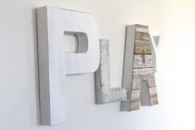 Play wall letters for kids playroom wall decor.