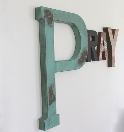 "Large ""wooden"" pray wall letters."