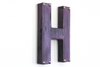 "Purple Metallic ""metal"" letter H"