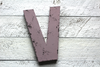 Vintage style farmhouse letter V with black distressing