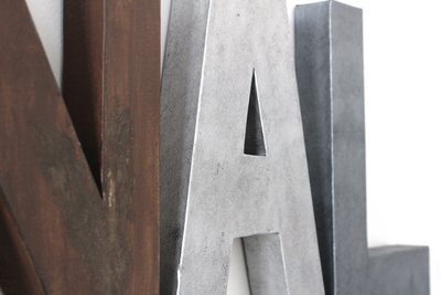 "Rustic ""wooden"" and ""metal"" letters."