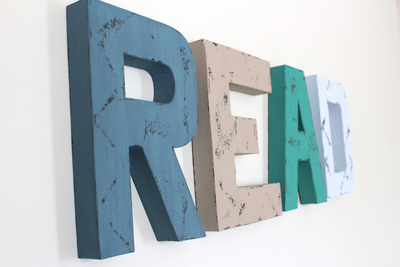"""Wooden"" READ wall letters for children's playroom decor."