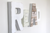 Wall sign that says READ in rustic white shades for playroom and nursery decor.