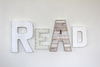 Real wall sigh letters for children's playroom wall decor and playroom wall ideas.