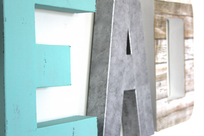 Aqua wall letters and silver letters for playroom decor.