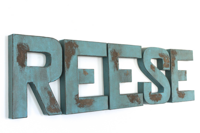 Reese distressed wall letters for airplane nursery decor.