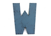 """Metal"" letter W in blue with a nail head trim design."