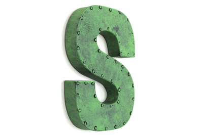 "Retro funky green ""metal"" letter with a nail head trim around a letter S."