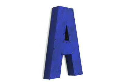 "Bright electric blue ""metal"" letter A."