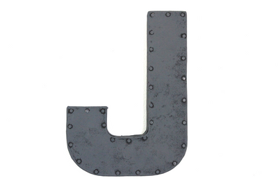 "Grey rusty ""metal"" letter J with a nail head trim."