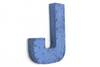 "Blue ""metal"" capital letter J."