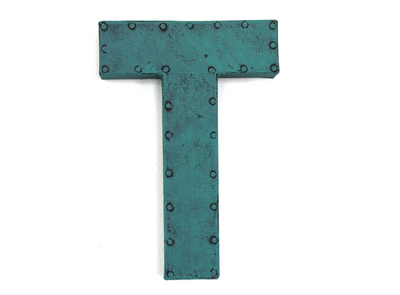 Letter T in teal with a retro finish.